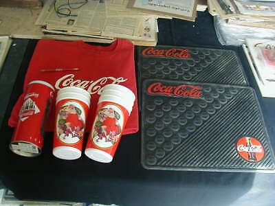 vintage lot of coca cola items floor mats strawholder plastic cup used pencil