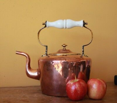 Large Antique Copper kettle with Ceramic handle. 1800's.