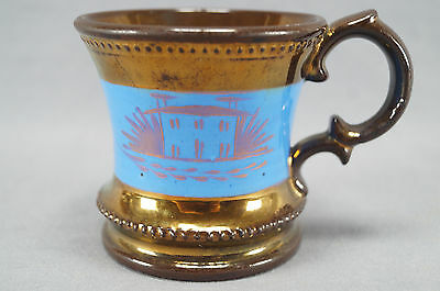 Mid 19th century Antique Copper Luster Shaving Mug Blue With Plum Luster House