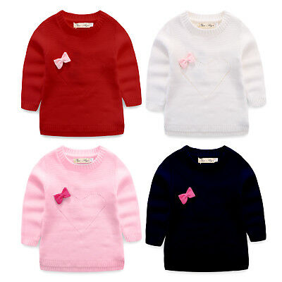 NEW Girls Knitted sweater IN CREAM BLACK PINK RED SIZE 1-6
