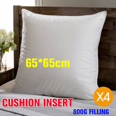 4x 65x65cm European Cushion Pillow Inserts Polyester Filling White  New Home AU