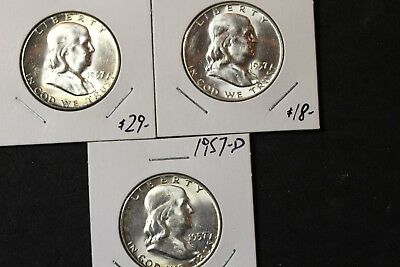 Lot of 3 Half Dollars 1957 and 1957D(2)  (3553)