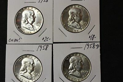 Lot of 4 Half Dollars 1958(2) and 1958D(2)  (3554)