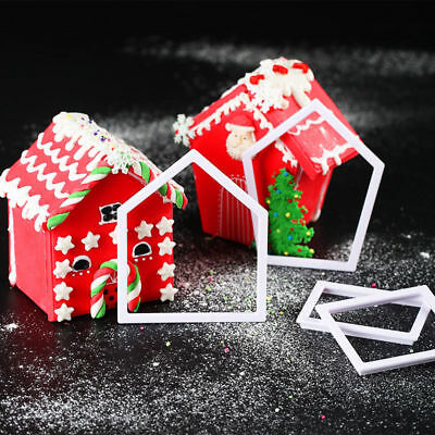 4Pcs Christmas House Biscuit Pastry Cookie Cutters Cake Decor Baking Mold Tools