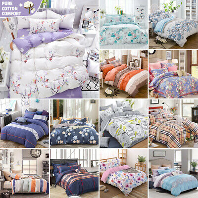 100% Pure Cotton Bedding 2019 New All Size Bed Doona Quilt Duvet Cover Set