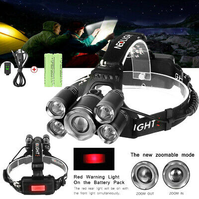 Lampe Frontale Puissante 5 CREE LED 8000Lm Zoomable Étanche Rechargeable 4 Modes