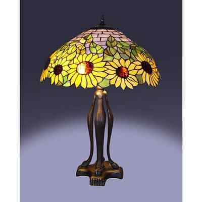 "Tiffany Style Sunflower Table Lamp Stained Glass 19"" Shade"