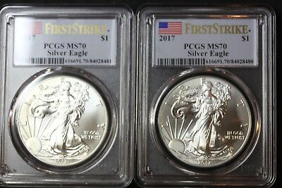 Lot of 2 2017 Silver Eagles MS70 First Strike PCGS    (3564)