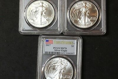 Lot of 3 2017 Silver Eagles MS70 First Strike PCGS    (3565)