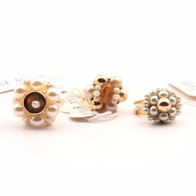Lot (3) Czech Vintage gold tone faux pearl glass bead costume jewelry rings