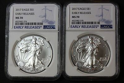 Lot of 2 2017 Silver Eagles MS70 Early Release NGC    (3569)