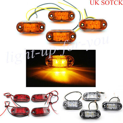 4× LED Front Side Rear Marker Light Indicator Lamp Truck Van Trailer 12/24V UK