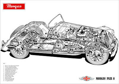 Morgan Plus 8 Detailed Cutaway Image A3 Size Poster Print Morgan V8