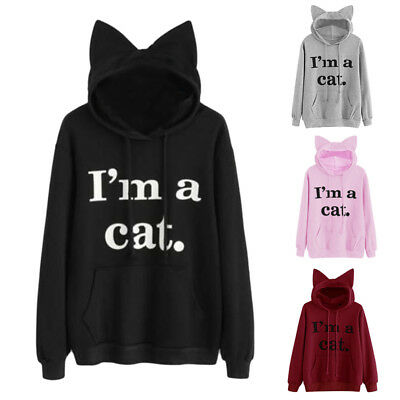 Women's Casual Sweater Letter Print 'I AM A Cat' Ear Pullover Hoodie Tops Jumper