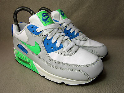 best website 8fcb9 09626 NIKE AIR MAX 90 GS Junior White Grey Blue Green Textile Trainers UK