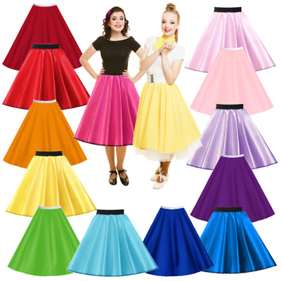 GIRLS 50s Costume Skirt ROCK N ROLL Satin or Plain GREASE Sandy PINK LADIES UK