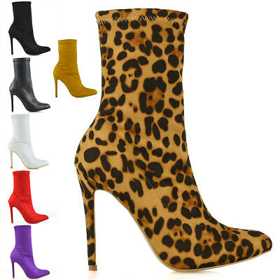 Womens High Heel Ankle Boots Ladies Point Toe Sock Stretch Booties Shoes Size