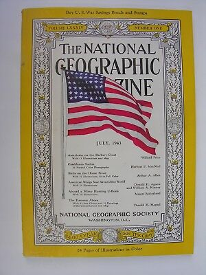 NATIONAL GEOGRAPHIC July 1943 Barbary Coast Blimp U-Boats Air Transport Command