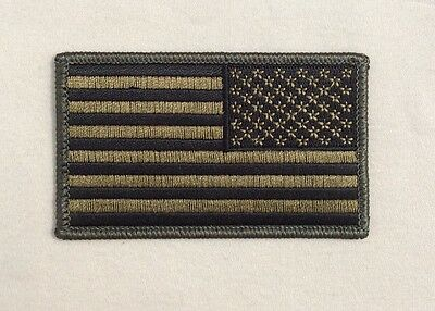 US United States American Flag patch REVERSE SUBDUED OD Green Iron On