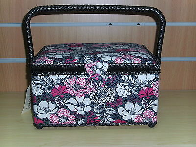 BNWT-Pink/Fuschia/White/Black Floral Design Fabric Covered Sewing Box-Hobby Gift