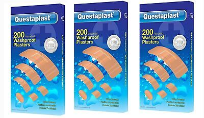 Questaplast 200 Pieces Assorted Washproof Water Resistant First Aid Plasters