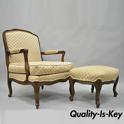 Vtg French Country Louis XV Provincial Style Arm Chair & Ottoman Bernhardt attr