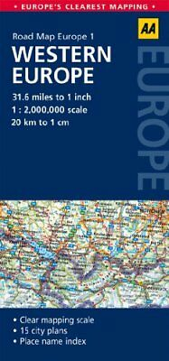 Road Map Western Europe (Aa Road Map Europe 1) Book By Aa Publishing English Map