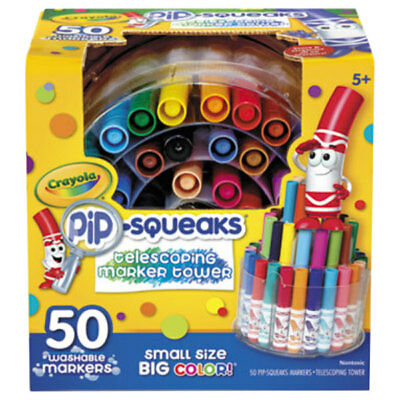 NEW Crayola Pip-Squeaks Washable Markers 50pc W/ Telescoping Tower Storage Case