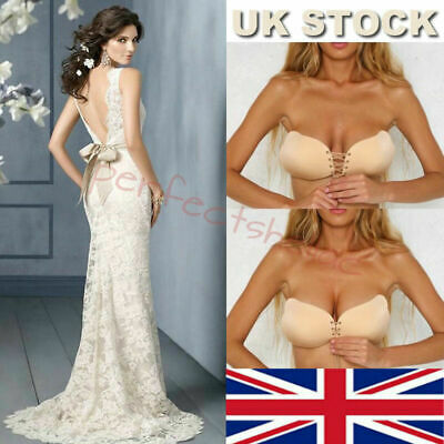 Silicone Bra Adhesive Stick On Push Up Strapless Backless UK Occasion A B C D E