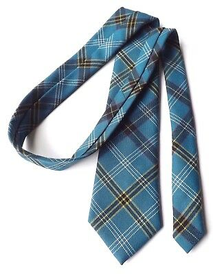 Vintage CLAN COLLECTION 100% Wool Neck Tie Mid Blue and Yellow TARTAN  FREE P&P