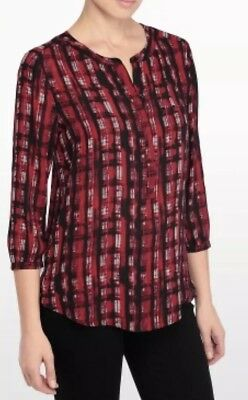 NYDJ Not Your Daughter Jeans Punk Plaid 3/4 Sleeve Blouse Crimson Red Size 2X