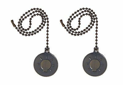 Antique Brass Finish Light Bulb Pull Chain With 12-inch beaded chain (2-Pack)