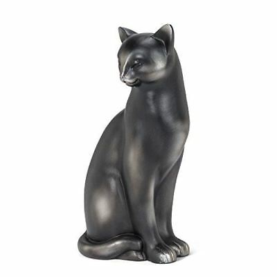 "Large Black Sitting Cat 11"" Height, Cat Figurine, Resin Cat Figurine"