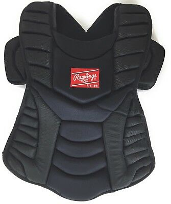 "Rawlings Umpire Vest WHCP Adult 17"" Catchers Chest Protector Black Baseball Soft"