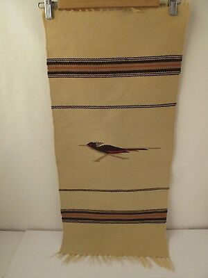 Vintage Chimayan White Road Runner Textile Weaving from Chimayo New Mexico