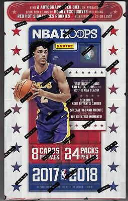 2017-18 Panini Hoops Basketball sealed hobby box 24 packs of 8 NBA cards 2 auto