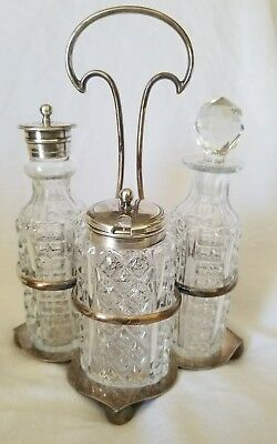 Antique Crystal and Silverplate Cruet Set