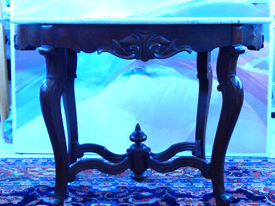 """Antique Carved Mahogany Marble Top Table 28"""" H x 38""""L x 24""""D"""