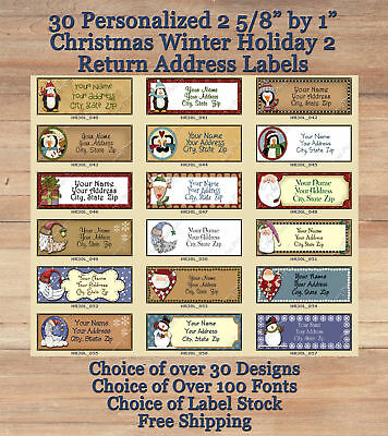 "30 Personalized 2 5/8"" by 1"" Holiday Christmas Winter 2 Return Address Labels"