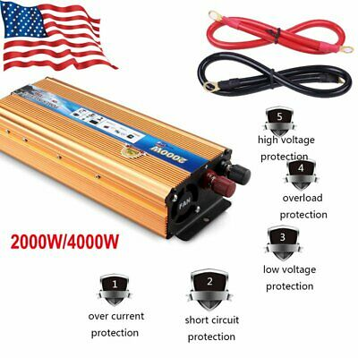 4000 Watt Peak Modified Sine Wave Power Inverter DC 12V to AC 220V Car Converter