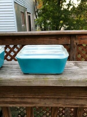 Vintage Pyrex Blue Refrigerator Dish, Primary Colors, Glass Fridge Dish with Lid