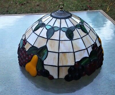 """Vintage Tiffany Style Stained Glass Shade Fruit Grape Apple Pear Lamp Light 16"""""""