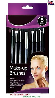 New 8 Pack Glamorize Make Up Brush Set Brushes Eye Shadow Blusher Brow Tolls uk