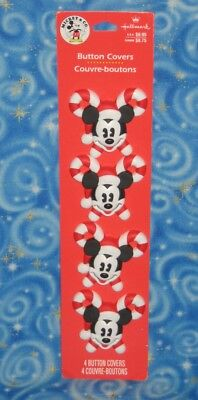 New Mickey Mouse Button Covers Christmas Candy Cane Set Lot Of 4 Hallmark