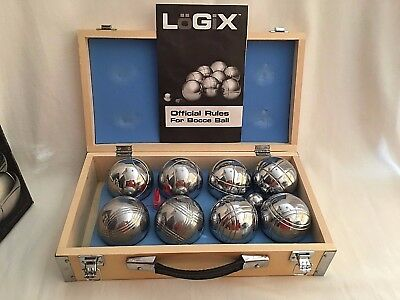 LOGIC Metal Bocce Ball Set 8 Ball Set w/ Wood Case Vintage Chrome Complete Set