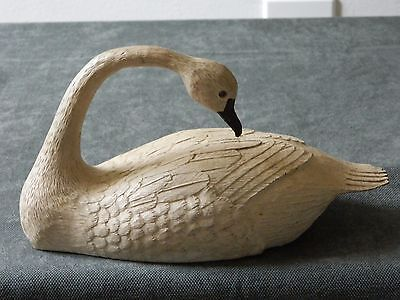 VINTAGE Hand Carved PAINTED SMALL Wooden Swan Signed DECOY