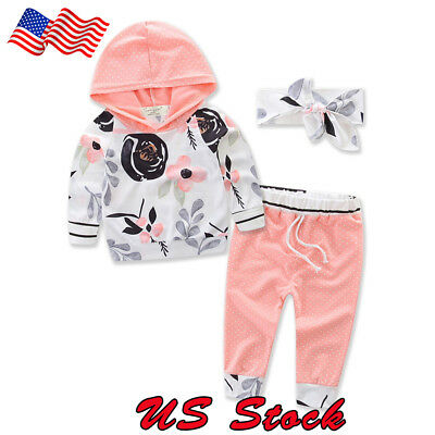 US Newborn Toddler Baby Girl flower Hoodies Sweater Tops+Pants Outfits Clothes
