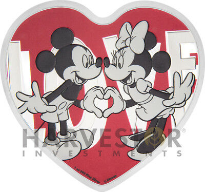 2018 Disney Love Coin - Heart Shaped Coin - Mickey & Minnie Mouse - Silver W/ogp