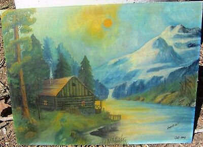 Beautiful Antique Signed Cabin Decor Landscape Oil Painting Dated Cabin In Woods