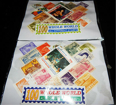 Lot 500pcs Stamps,5 bundle of 100 Different World Used/MNH/CTO stamp Collection